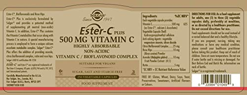 Solgar Ester-C® Plus 500 mg Vitamin C, Immune Support, Well-Retained, Gentle & Non Acidic, Non-GMO, Suitable for Vegans, 250 Vegetable Capsules by Solgar (Image #1)