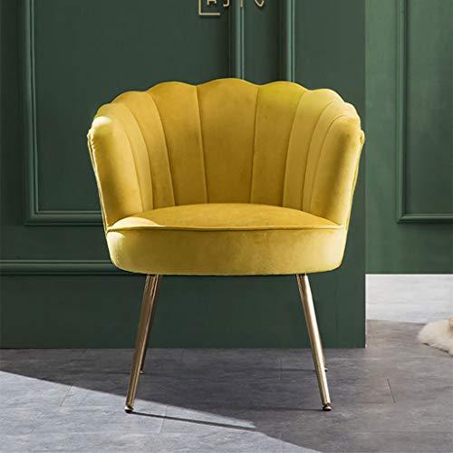 Sillón Club de tela moderno de mediados de siglo, silla American Shell, sillón de franela de lujo Sofá individual for sala de estar Dormitorio con balcón, cojín grueso de 12 cm Relleno de esponja al