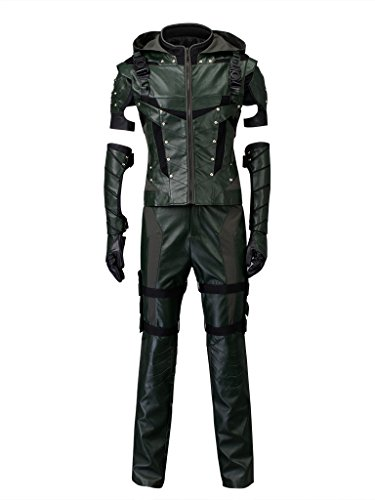 CosFantasy Oliver Queen Season 4 Arrow Costume Cosplay Robin Hood (Asian-XXL) Green -