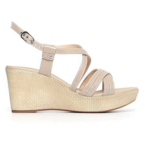 à Femme Chaussures Brides Giardini Beige Nero BFqfwSUP