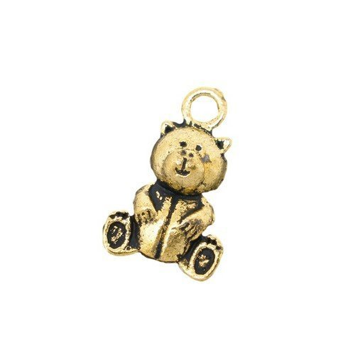 Paquet 15 x Or Antique Tibétain 16mm Breloques Pendentif (Ours En Peluche) - (ZX05525) - Charming Beads
