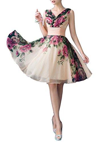 Chiffon Baumwolle Brautjungfer Damen Ausschnitt Kleider Print emmani V qR4OFT