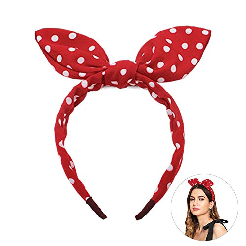 Headbands Bow for Women Baby Girls Cute Assorted Hair Bands Vintage Retro Polka Dot Headwrap Rockabilly Rabbit Ears Head Band Ribbon Knotted Hair Accessories]()