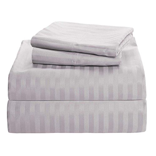 Bedding 4 PCs Sheet Set 100% Pure Cotton 600 Thread Count Fitted Sheet fits upto 15 Inch Deep Pocket mattress (Light Grey Stripe, Queen Size) By Sleep - Single Grey Stripe