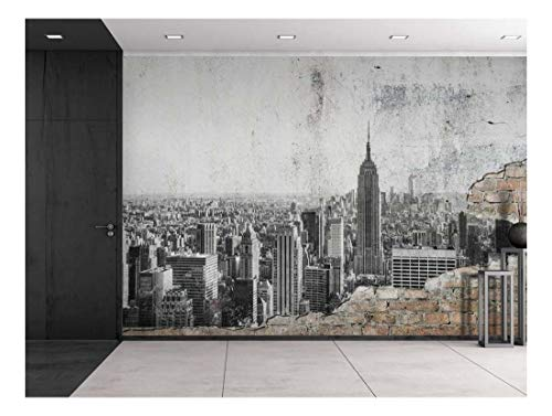 Grayscale Photo of New York City on a Brick Wall Wall Mural