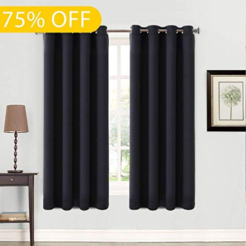 99% Blackout 2 Panels Curtains Thermal Insulated Grommets Drapes for Bedroom 52 by 63 Inch Black