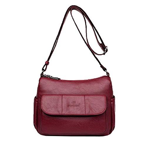 Pour Les Pu Bandoulière Mini Lady Multicolore tout Red Casual Bandoulière Sac Main Sac Femmes Sac à En Fourre à Mode Cuir Sac Zipper Wn8Af8x