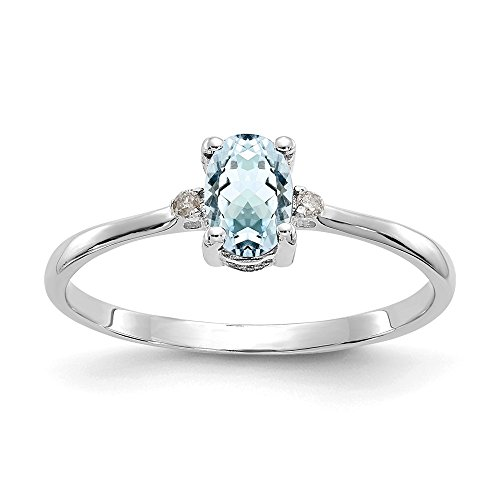 - 14k White Gold Diamond Blue Aquamarine Birthstone Band Ring Size 6.00 March Oval Fine Jewelry Gifts For Women For Her