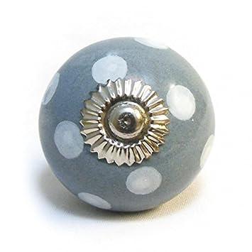 Pushka Knobs Grey White Spotted Ceramic Cupboard Door Knob