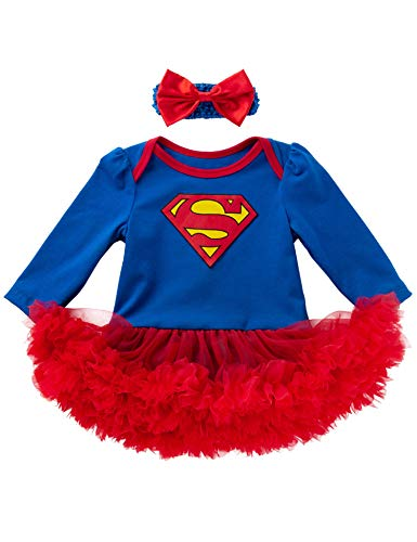 D.B.PRINCE Newborn Baby Girls Superman Long Sleeve Bodysuit Tutu Skirt Romper Clothes Outfit with Headband(Superman, 0-3 Months) ()