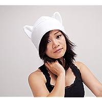 White Ear Cat Hat Toque Beanie Feline Kitty Kitten Fleece Anime Manga Ski Snowboarding Convention Goth Punk Rave Costume Cosplay