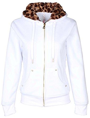Faux Fur Hoody Hoodie Sweater - 9 Crowns TR Juniors Faux-Fur Lined Hoodie by Essentials-White-Large