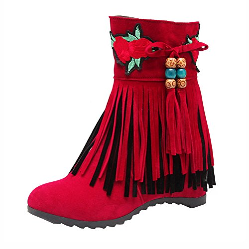 Retro Fringe Tier Leather Embroidery Shoes Zip Two Womens Classic Red Boots Heel Agodor Wedges With Nubuck Ankle Mid qEAtZI