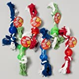 DOG TOY DOUBLE NOTTED ROPE/ RUBBER CHEWS 3 STYLES 3 COLORS, Case Pack of 84