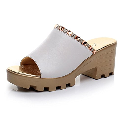 Noir Cuir Confort 43 En Rouge Blanc Taille Chaussures Toe 33 Sandales Blanc D'été Pour DANDANJIE Vert Peep Casual Femmes Talon Wedge wHItgqx6