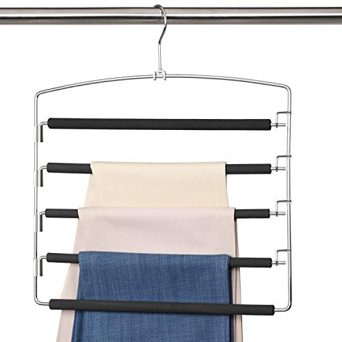 MeetU Pants Hangers 5 Layers Stainless Steel Non-Slip Foam Padded Swing Arm Space Saving Clothes Slack Magic Hangers Closet Storage Organizer for Pants Jeans Trousers Skirts Scarf Ties Towels