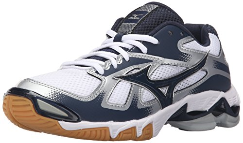 Mizuno Women's Wave Bolt 5-W Volleyball Shoe, White/Navy, 8 (Shoes Volleyball Junior)