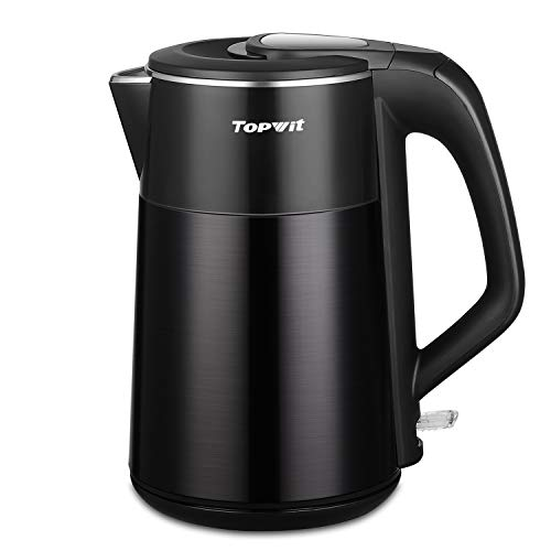 Topwit Electric Kettle, Double Wall 304 Stainless Steel Integrated Seamless Interior, 1.7L Cordless Hot Water Heater Boiler, Coffee Kettle & Tea Pot with Auto Shut Off and Boil Dry Protection