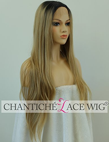 Chantiche Real Looking Ombre Brown Dark Roots Long Straight Synthetic Lace Front Wigs Soft Beautiful Layer Two Tone Fiber Hair Full Wig Heat Resistant 24 (Best Synthetic Wigs)