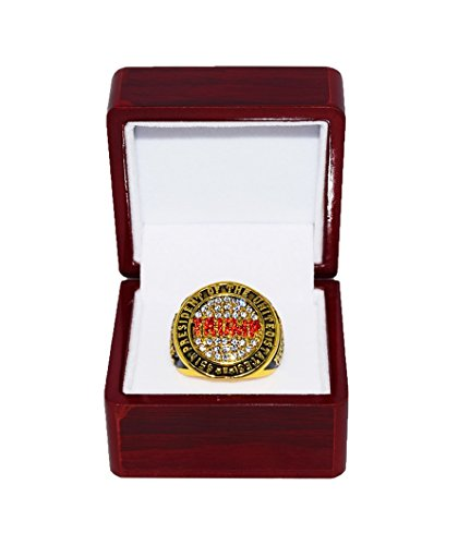DONALD TRUMP (45th President of the United States) 2016 Presidential Election Win MAKE AMERICA GREAT AGAIN Rare & Collectible Gold Championship Ring with Cherrywood Display Box
