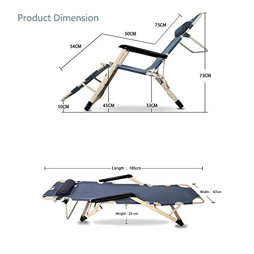 Metal Folding Chair With Scroll Back >> YOLER Flat Folding Sturdy Patio Lounge Chair with Adjustable Pillow Furniture Outdoor Furniture ...