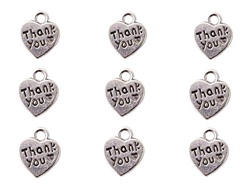 60pcs Thank You Lettering Charm Peach Heart Shape Thankful Heart Double-Sided Pendant for DIY Bracelet Necklace Jewelry Making Findings(Silver Tone)