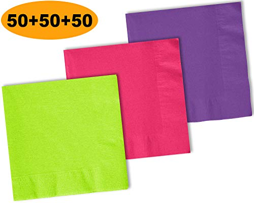 (150 Beverage Napkins, Lime Green, Electric Pink, Amethyst - 50 Each Color. 2 Ply Paper Cocktail Napkins. 5