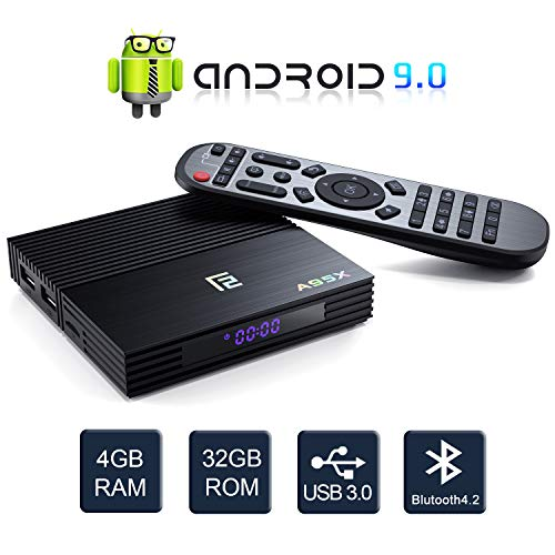Android 9.0 TV Box, Dolamee 4GB RAM 32GB ROM Amlogic Quad Core Streaming Media Player Support 4K Ultra HD/HDMI 2.1/BT 4.2/USB3.0/Remote Control via Smart Phone