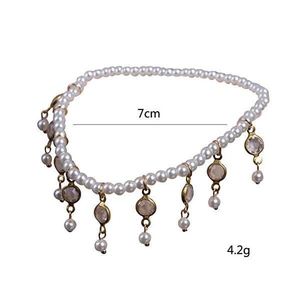 WeiMay 1 X Crystal Pearl Beaded cavigliera catena donne braccialetto alla caviglia sandalo a piedi nudi accessori da… 2 spesavip