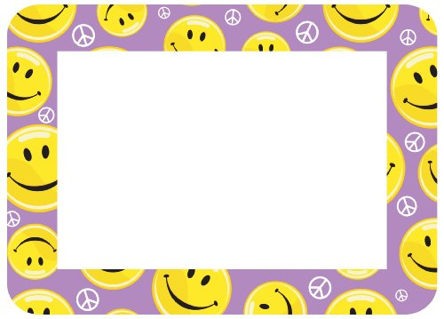 Fodeez Frames Trendy Kidz 4 x 6 Inches Photo Area Peel and Stick Adhesive Picture Frame/Dry Erase Board Smiley Face Purple (Smiley Face Purple)