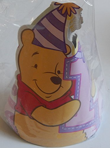 Winnie the Pooh 1st Birthday Girl Party Cone Hats 8 Pack by ()