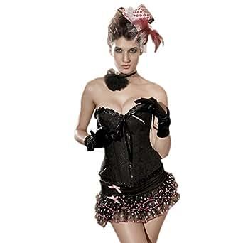 Muka Women Waist Cincher Corset Top Bustiers Push Up Shapewear Clubwear Costume BLACK-S