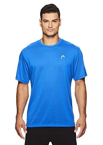 HEAD Men's Crewneck Gym Training & Workout T-Shirt - Short Sleeve Activewear Top - Boss Hypertek Supreme Blue, Medium