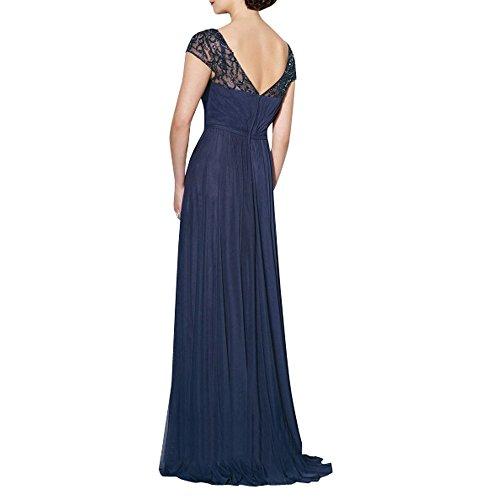Charmant Damen Elegant V-ausschnitt Kurzarm Abendkleider Brautmutter Formal Abschlussballkleider Lang