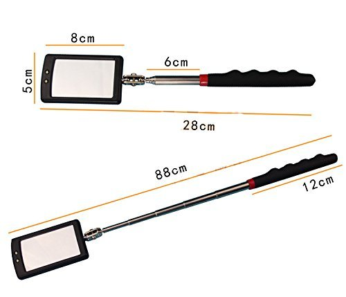 Telescoping Led Lighted Flexible Inspection Mirror 360