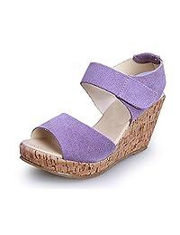 Women's New Design Velcro Strap Wedge Open Toe Platform Ladies Summer Sandal