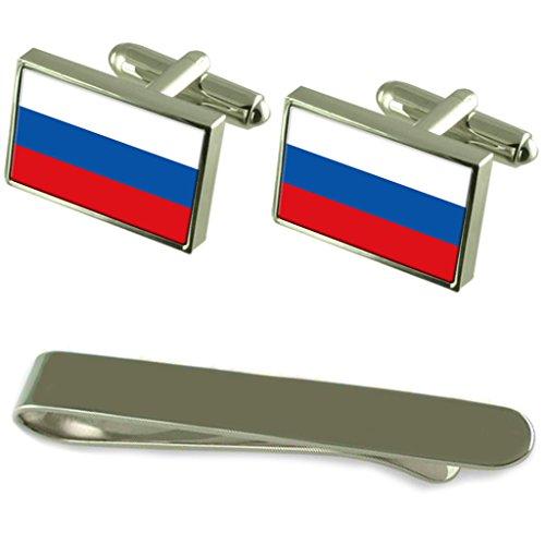 Drapeau de la Fédération de Russie de manchette en argent gravé Cravate Cadeau