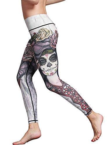 Hioinieiy Womens Halloween Sugar Skull Printed Leggings Women's High Waisted Workout Spandex Cute Patterned Yoga Pants for Women White XL