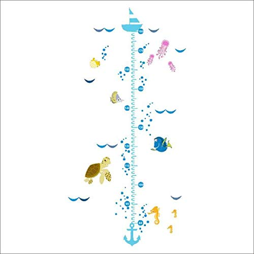 (WOCACHI Wall Stickers Decals Funny Cartoon Fish Growth Chart Height Measure for Baby Child Wall Stickers Art Mural Wallpaper Peel & Stick Removable Room Decoration Nursery Decor)