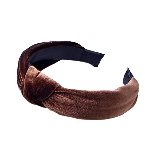 Women Simple Headband Twist Hair Band Bow Tie Hairband Elastic Velvet Head Hoop (Color - coffee)