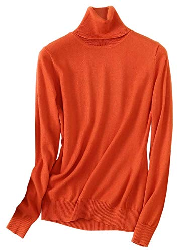 (SANGTREE Women's Cashmere Turtleneck Long Sleeves Lightweight Pullover Sweater, Orange, US S(4-6))