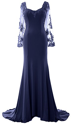 MACloth Women Long Sleeve Mermaid Lace Jersey Formal Prom Dress Evening Gown Azul Marino Oscuro