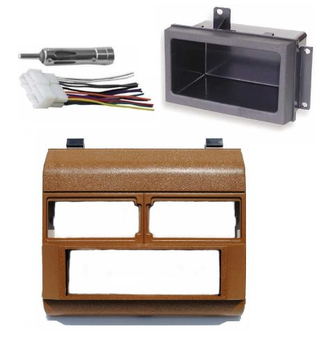 Custom Install Parts Brown Complete Single Din Dash Kit + Pocket Kit + Wire Harness + Antenna Adapter Compatible with Select 1988-1996 GMC Chevrolet ()