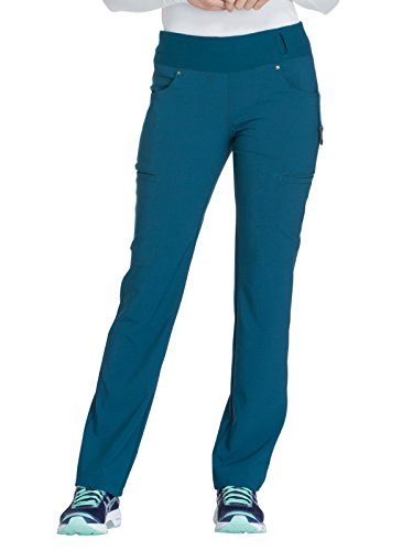 Cherokee iFlex CK002 Mid Rise Pull-On Pant Caribbean Blue 2XL Petite (Best Trousers For Pear Shaped)