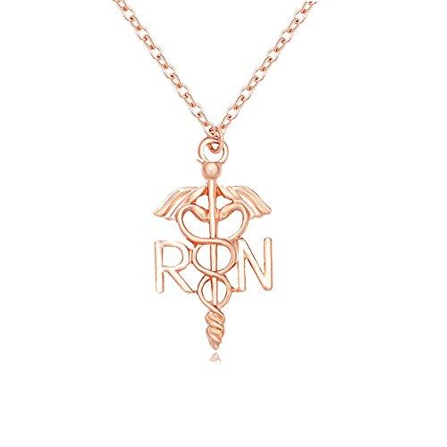 MANZHEN Medicine Caduceus RN Charm Registered Nurse Pendant Necklace (Rose Gold)