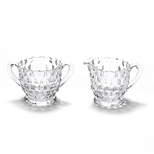 American by Fostoria, Glass Cream Pitcher & Sugar Bowl, Miniature