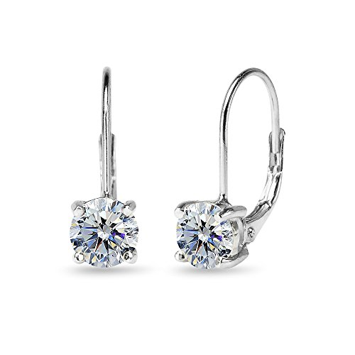Sterling Silver Clear Round-cut Leverback Earrings Made with Swarovski Crystals