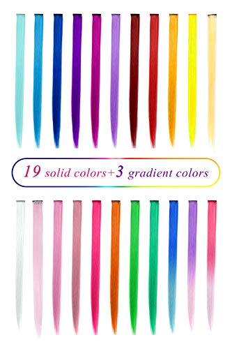 (TOFAFA 22 inch Colored Hair Extensions,Multi-colors Party Highlights Clip in Synthetic Hair Extensions (22 Pcs Colorful Set))