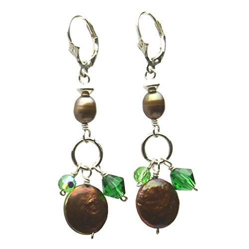 Bronze Coin Freshwater Cultured Pearl Glass Beads Sterling Silver Earrings