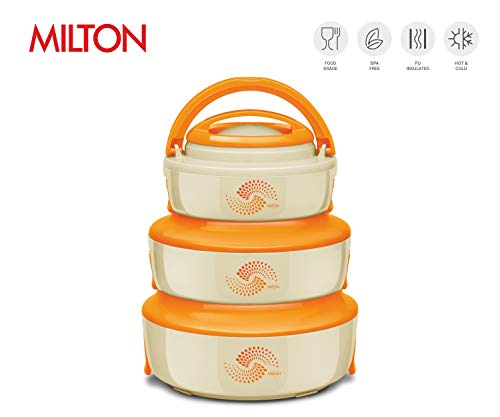 (Milton Venture Jr Microwaveable Stackable 3 pc set (13oz/28oz/47oz) Insulated Hot Pot/Casserole/Serving Bowl with Lid & Stainless Steel Inner - Keep food Hot/Cold up to 4-6 hrs (Orange))
